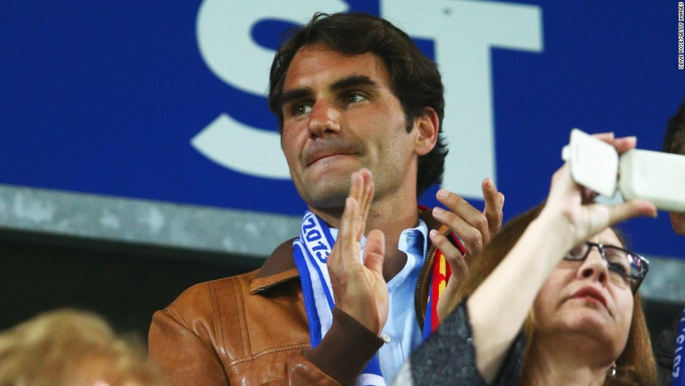 Tennis maestro Roger Federer was supporting his home team FC Basel in their Europa League semifinal against Chelsea.