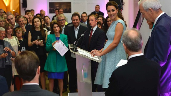 Catherine speaks during a reception at the National Portrait Gallery on April 24 in London.