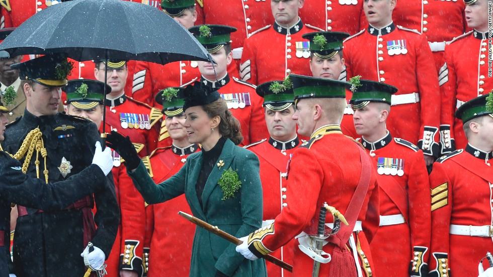 William and Catherine attend a St. Patrick's Day parade on March 17 in Aldershot, England.