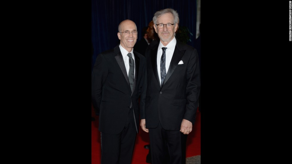 DreamWorks CEO Jeffrey Katzenberg and director Steven Spielberg on the red carpet before the dinner.