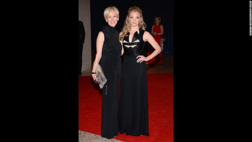 Edior-in-chief of Cosmopolitan Magazine Joanna Coles and actress Natalie Dormer arrive for the dinner.