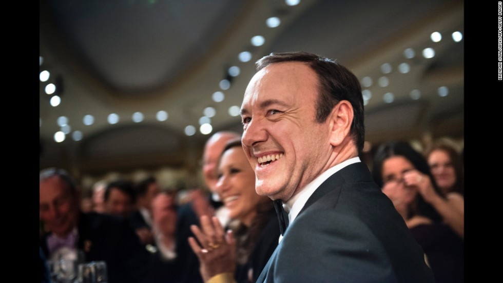 Actor Kevin Spacey laughs during the event.