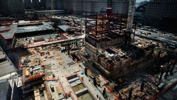 The superstructure of One World Trade Center is seen at ground zero on August 3, 2009.