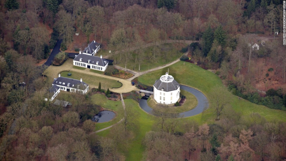An aerial view shows Drakensteyn Castle and its 20-hectare (49 acre) grounds, where Beatrix will live after her abdication. Beatrix bought the castle in 1959 and moved in four years later, continuing to live there after marrying her husband Prince Claus in 1966.