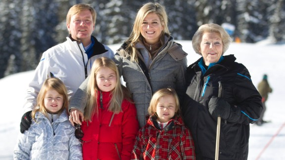 Willem-Alexander, Maxima, Beatrix, Alexia, Amalia and Ariane appear at the annual winter photocall on February 18, 2013 in Lech, Austria.