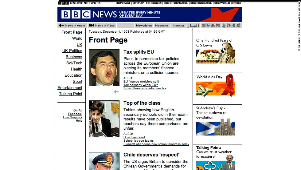 "This screenshot of <a href=""http://news.bbc.co.uk"" target=""_blank"">news.bbc.co.uk</a> in December 1998 exemplifies the narrow, vertical design of websites in the 1990s to accommodate lower-resolution monitors."