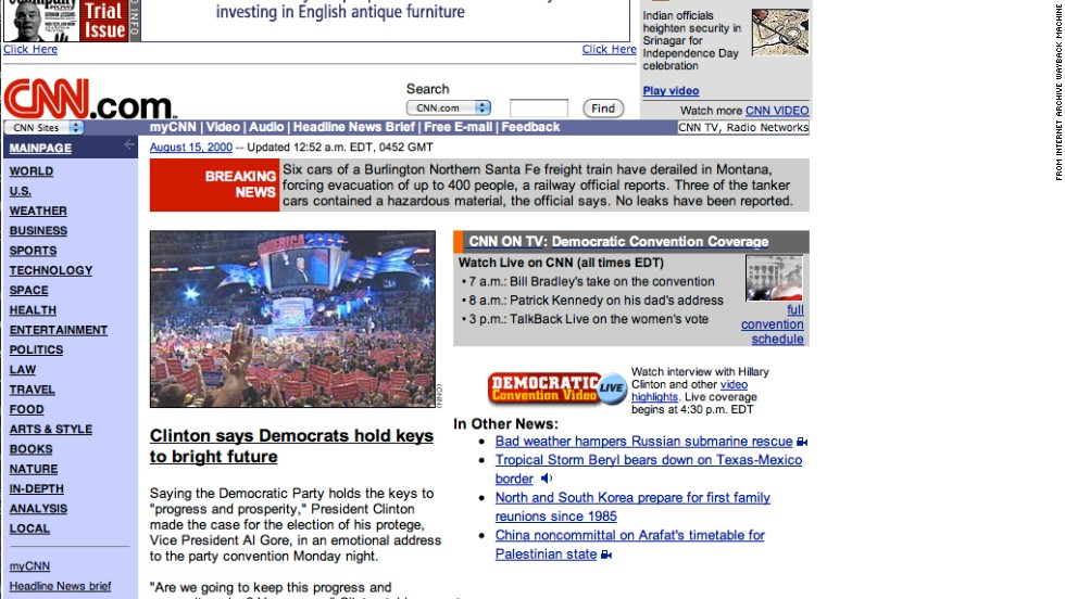 "Purple and lavender accents adorned the <a href=""http://www.cnn.com"">CNN.com</a> homepage in August 2000. Election season was well under way."