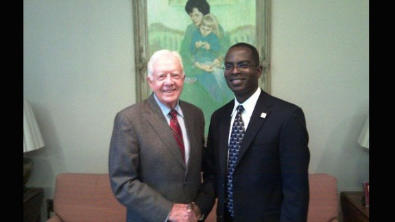 For his efforts to improve education in Ghana, he's won many awards and has met many dignitaries, including former U.S. president Jimmy Carter.