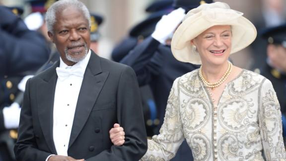 Former U.N. Secretary General Kofi Annan and his wife Nane leave the investiture ceremony.