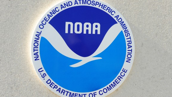 This November 27, 2009, photo shows the seal for the National Oceanic and Atmospheric Administration(NOAA) at a facility in Key West, Florida. AFP PHOTO/Karen BLEIER (Photo credit should read KAREN BLEIER/AFP/Getty Images)