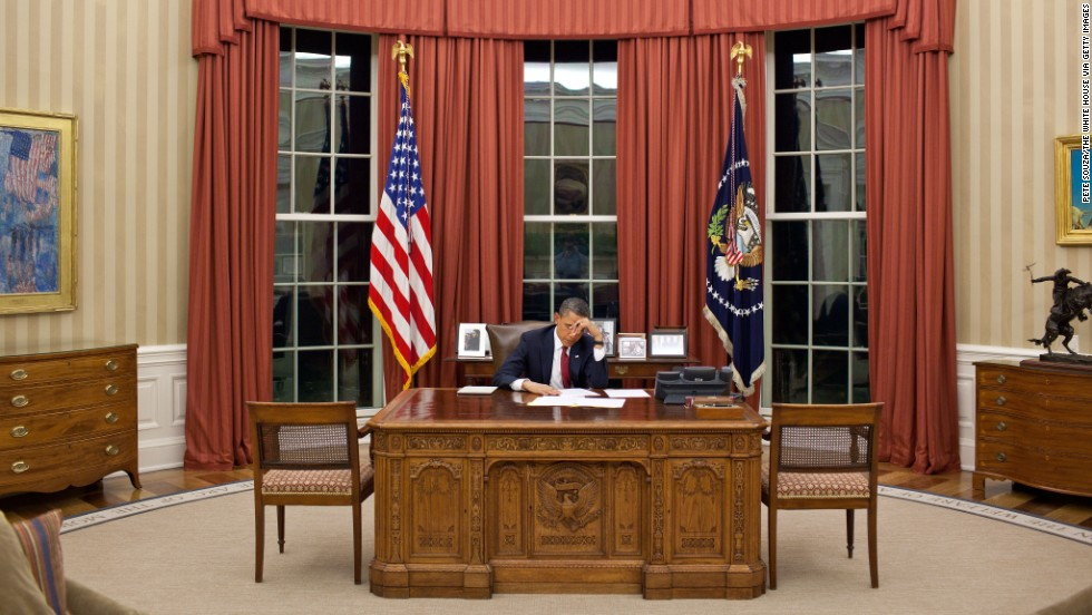 President Obama edits his remarks in the Oval Office prior to making a televised statement announcing bin Laden's death.