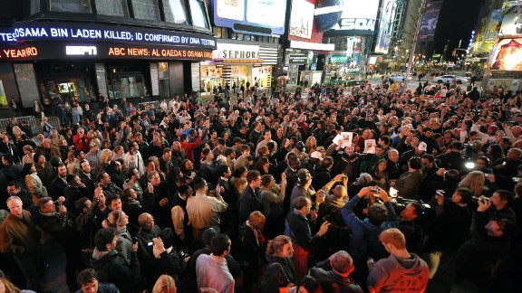Times Square is filled shortly after the announcement of bin Laden