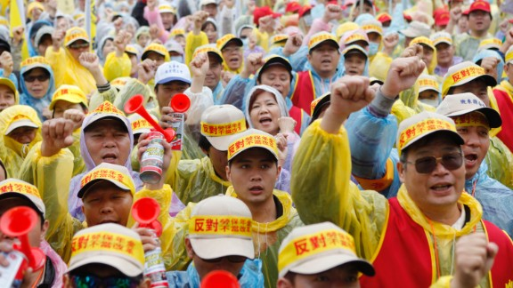 In Taipei, Taiwan, more than 20,000 workers staged a protest against President Ma Ying-jeou