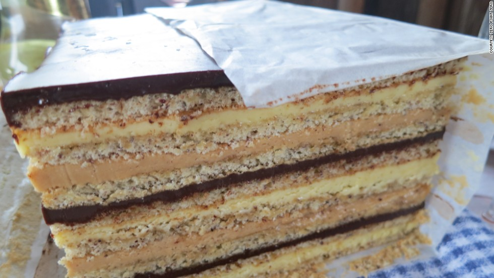 Gateau Marjolaine is a classic, multi-layered rectangular cake.