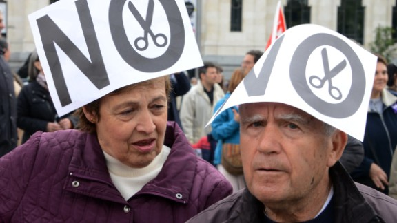 Demonstrators in Madrid take part in a Labor Day protest against the Spanish government