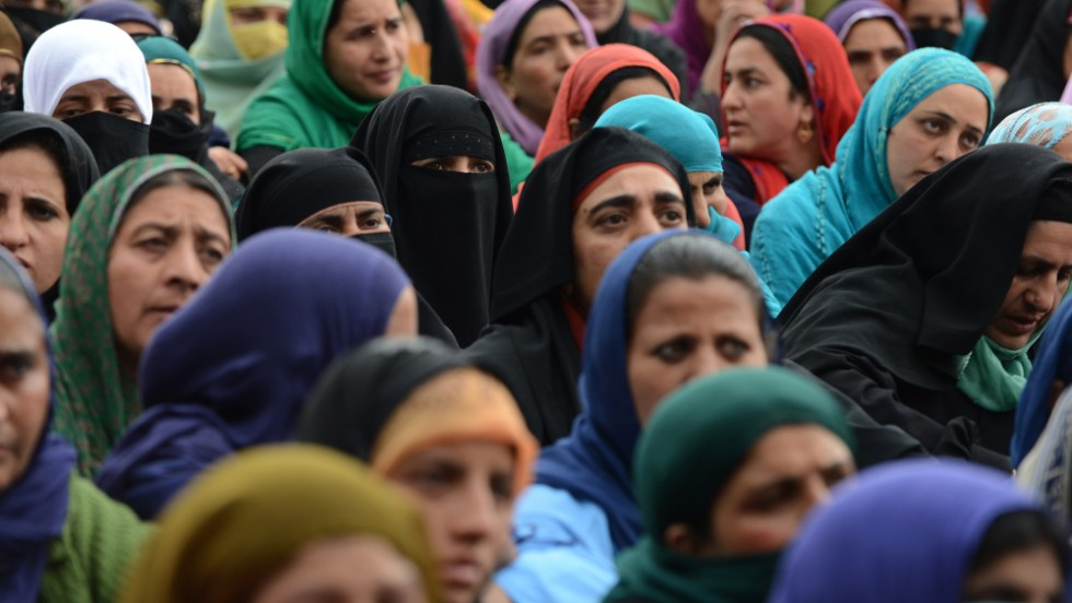 Government employees protest for better pay and job security in Srinagar, India.