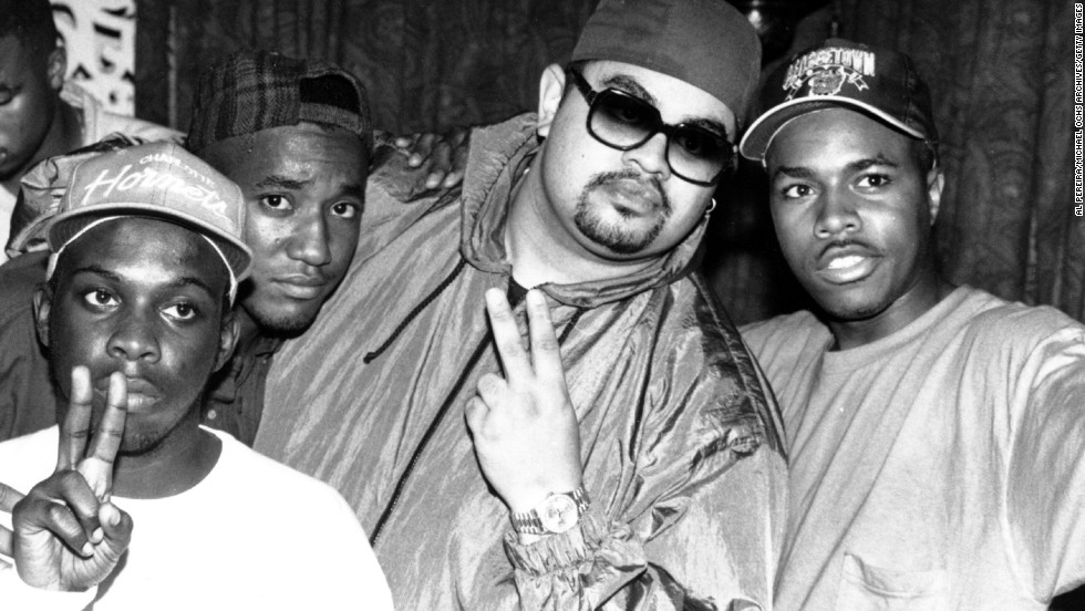 Rapper Heavy D Center In Shades Poses With Members Of The US Hip