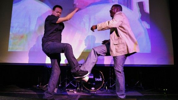 """Christopher """"Kid"""" Reid and Christopher """"Play"""" Martin of Kid 'N Play had us all trying to do the kick step."""