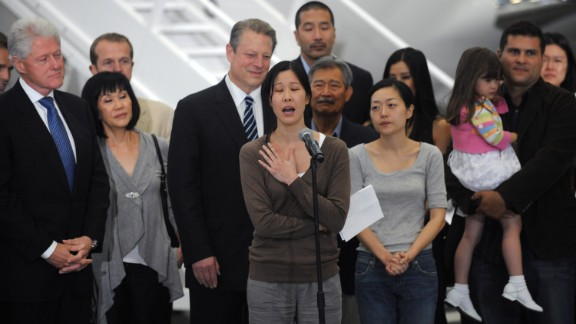 North Korea has arrested Americans before, only to release them after a visit by a prominent dignitary. Journalists Laura Ling, center, and Euna Lee, to her left, spent 140 days in captivity after being charged with illegal entry to conduct a smear campaign. They were freed in 2009 after a trip by former President Bill Clinton.