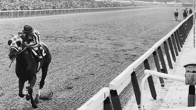 Secretariat approaches the finish line to win the 1973 Belmont Stakes by a record 31 lengths.