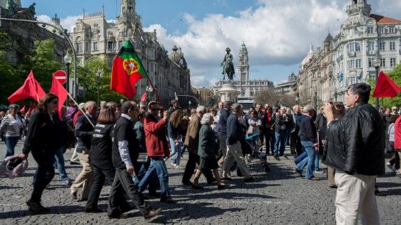 """iReporter TTeixeira captured this image from a May Day protest in Porto, Portugal. """"People protested with great order, but showed discontent against the government who they blame for this economic crisis,"""" she said. """"They want the government to resign and the Troika out of this country."""""""
