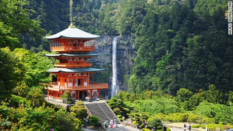 Nachi Falls, at 133-meters high, is the biggest waterfall in Japan. It steals some spotlight from the last grand shrine, Kumano Nachi Taishai. This picture was taken at a top-secret sweet spot, shared by the head priest. I promised not to tell.  So don't go to the viewing platform near the Taishai.