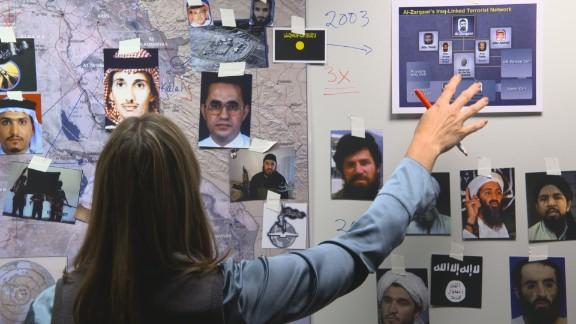 "Former CIA Targeting Officer Nada Bakos, in a scene from HBO's ""Manhunt."""