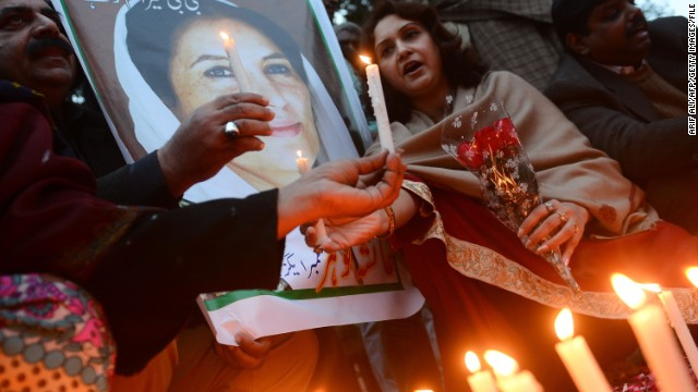 Activists remember ex-Prime Minister Benazir Bhutto in Lahore on the fifth anniversary of her death.