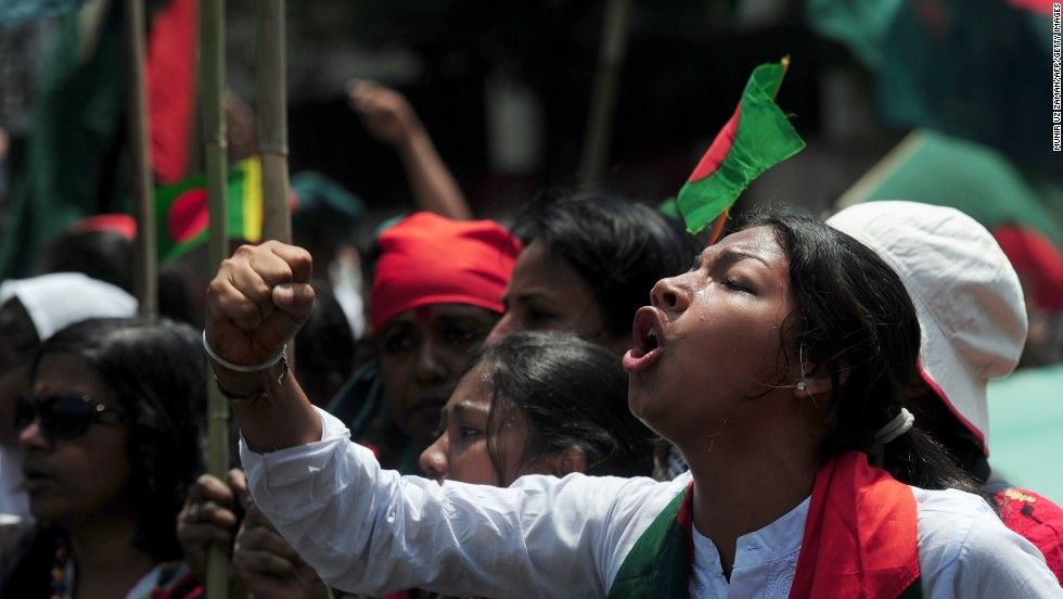 A Bangladeshi protester shouts during a rally on April 8 against the strike called by Hefazat-e-Islam. <strong><em>Correction:<em></strong></em> An earlier version of this caption misstated what this woman was protesting. It implied she was supporting the conservative Islamist movement that called the strike.</em>