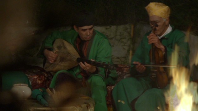 Musicians in Joujouka, a remote village in the Ahl Srif tribal area south of the Rif in Northern Morocco. From episode 5 of Anthony Bourdain Parts Unknown.