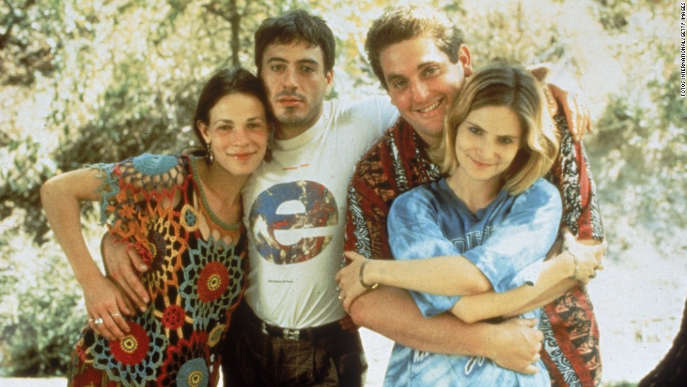 "From left, actors Lili Taylor, Downey, Chris Penn and Jennifer Jason Leigh on the set of the film ""Short Cuts"" in 1993."