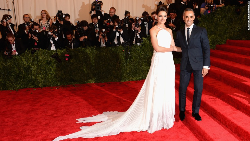 Katie Holmes and designer Francisco Costa attend the gala.