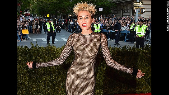"NEW YORK, NY - MAY 06:  Miley Cyrus attends the Costume Institute Gala for the ""PUNK: Chaos to Couture"" exhibition at the Metropolitan Museum of Art on May 6, 2013 in New York City.  (Photo by Larry Busacca/Getty Images)"