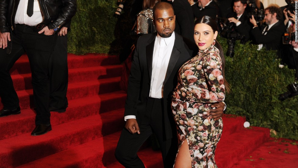 "Kanye West and Kim Kardashian attend the Costume Institute Gala for the ""PUNK: Chaos to Couture"" exhibition at the Metropolitan Museum of Art in New York on Monday, May 6."