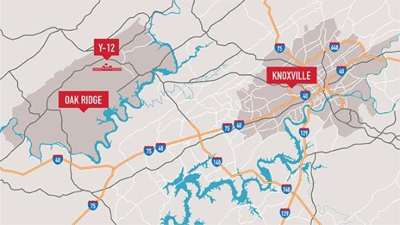 Map: Y-12 facility in Oak Ridge, TN