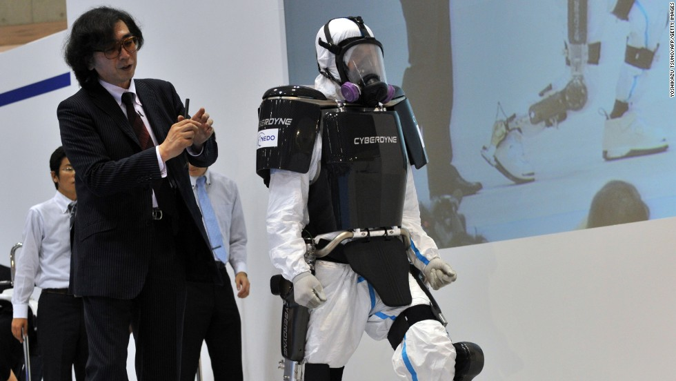 Cyberdyne's HAL-5 suit could take rescue workers into dangerous zones in the future. For now, it is allowing hundreds of Japanese patients suffering from muscle weakness to get around.