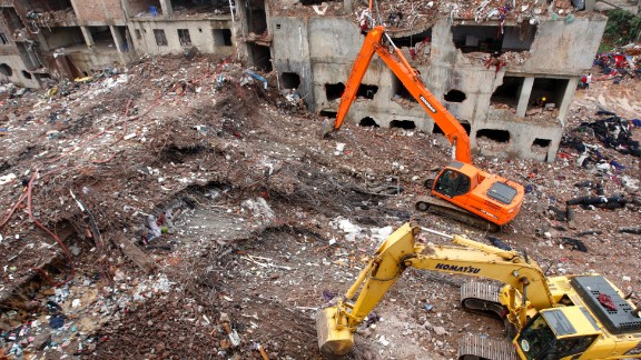 Workers continue rescue and recovery operations on Tuesday, May 7, nearly two weeks after the Rana Plaza building