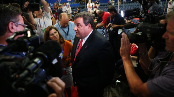 Christie speaks to the media before the start of the abbreviated first day of the Republican National Convention on August 27, 2012, in Tampa, Florida.