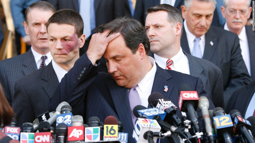 Then U.S. Attorney for the District of New Jersey, Christie pauses on May 8, 2007, before a news conference concerning a thwarted terrorist plot to attack the U.S. Army's Fort Dix outside Trenton.