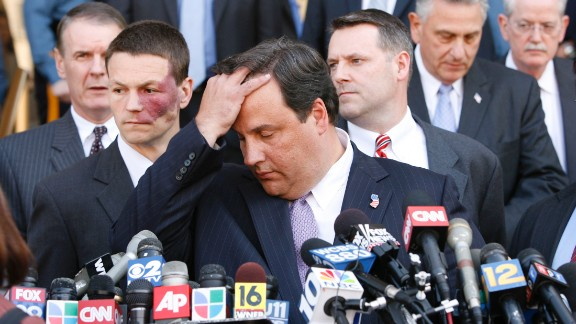 Then U.S. Attorney for the District of New Jersey, Christie pauses on May 8, 2007, before a news conference concerning a thwarted terrorist plot to attack the U.S. Army