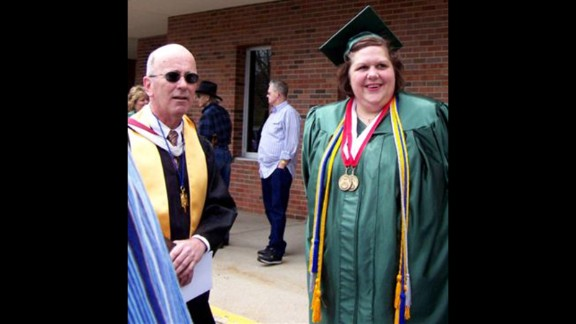 When she graduated college as an nontraditional student, Borawski could barely walk across the stage to accept her diploma. Her doctor had diagnosed her with rheumatoid arthritis. Her professor and friend Chuck Bowden, seen here, says he worried about how limited her life would be at this weight.