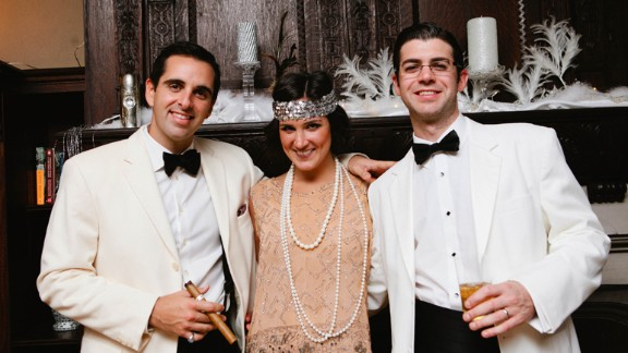 """On the other hand, wealth manager Russell Bailyn, right, spared no expense for his """"Great Gatsby""""-themed 30th birthday party. His top tip for hosting a successful bash? """"Giant bottles of champagne and lobster are a good start."""""""