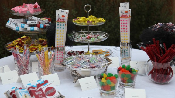 """When planning decade-themed parties, Campbell starts by researching popular food and drinks of that era. """"A candy bar featuring all of the candies invented in the 1920s was perfect,"""" for her progressive dinner, she said. Music and movies from the 1920s are other fun and easy ways to set the mood."""