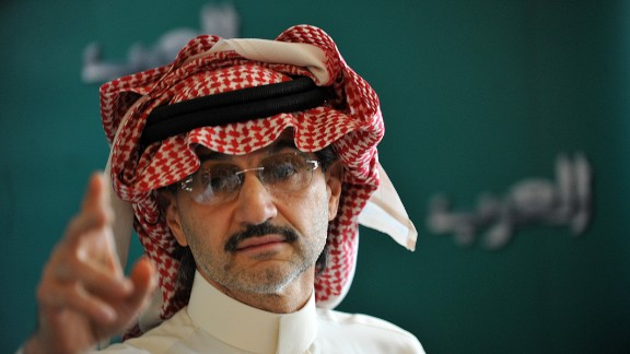 Saudi billionaire Prince Alwaleed bin Talal gestures during a press conference, on September 13, 2011, in Riyadh.