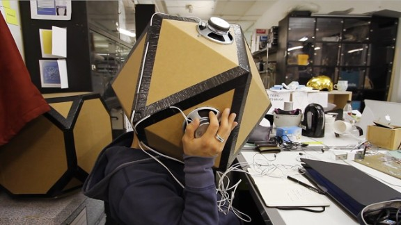 As part of the prototyping phase the crew constructed this elaborate, if clunky, sensory deprivation experiment using noise isolation rigs.