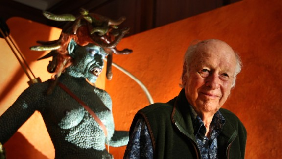 "Ray Harryhausen, the stop-motion animation and special-effects master whose work and influence was far-reaching, poses in front an enlarged model of Medusa from his 1981 film ""Clash of the Titans"" in London in 2010. Harryhausen has died at 92, according to the Facebook page of the Ray and Diana Harryhausen Foundation."
