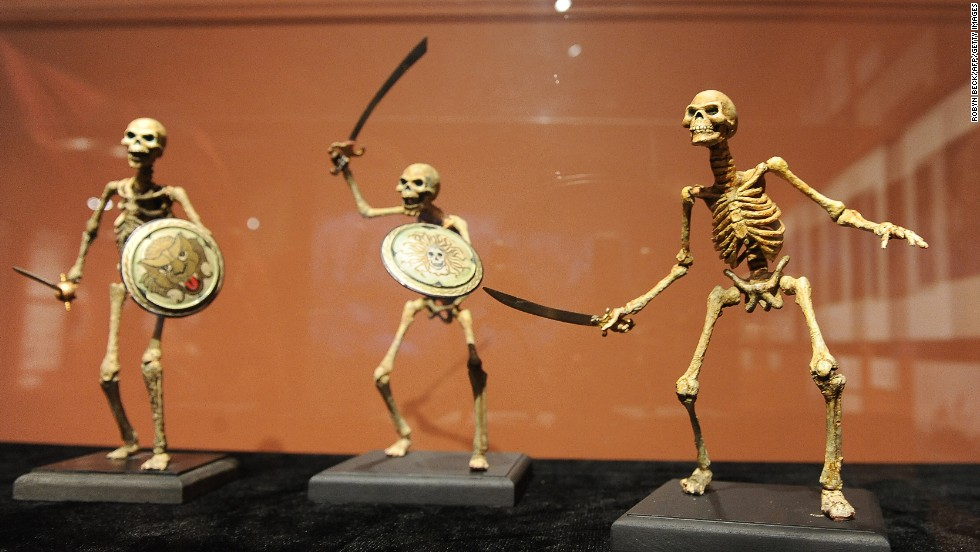 "Skeleton soldiers from ""Jason and the Argonauts"" (1963) are displayed at the opening of ""The Fantastical Worlds of Ray Harryhausen"" exhibition at the Academy of Motion Picture Arts and Sciences in Beverly Hills, California, on May 13, 2010."