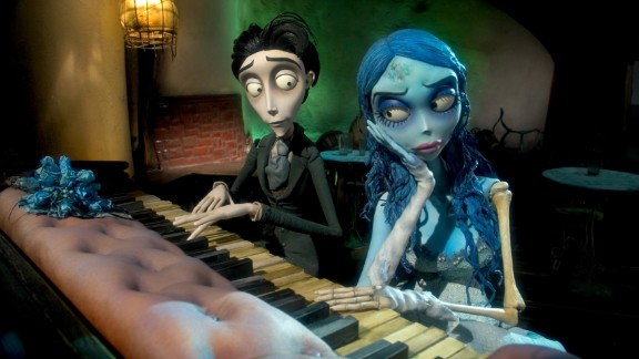 "The character Victor Van Dort plays a fictional Harryhausen piano with the corpse bride in a scene from Tim Burton's 2005 film ""The Corpse Bride."""