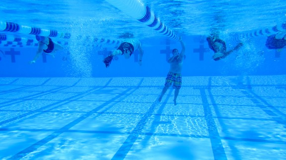 A underwater view of the team during training.