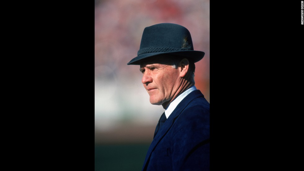 Tom Landry coached the Dallas Cowboys from 1960 to 1988 and turned the team into one of the most dominant in the National Football League until the early '80s.